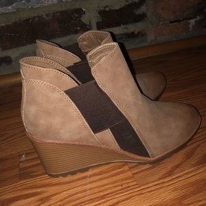 Suede tan and brown booties